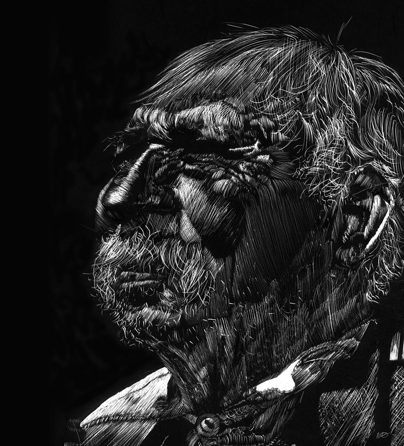 Scratchboard Drawing - Old Man by Michele Engling