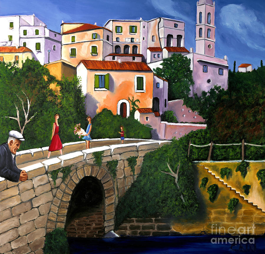 Mediterranean Landscape Painting - Old Man On Bridge by William Cain
