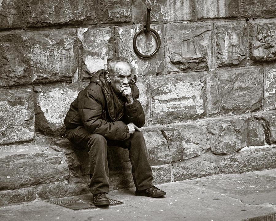 Person Photograph - Old Man Pondering by Susan Schmitz