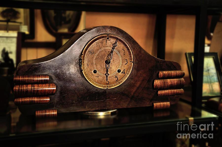 Clock Photograph - Old Mantelpiece Clock by Kaye Menner