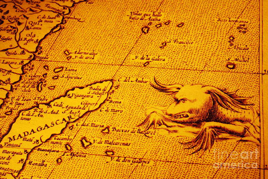 Africa Photograph - Old Map Of Africa Madagascar With Sea Monster by Colin and Linda McKie