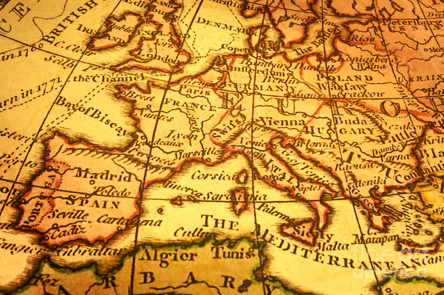 Ancient Photograph - Old Map Of Europe And Mediterranean by Colin and Linda McKie