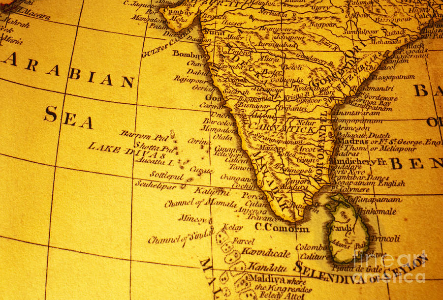Old Map Of India And Arabian Sea Photograph By Colin And Linda