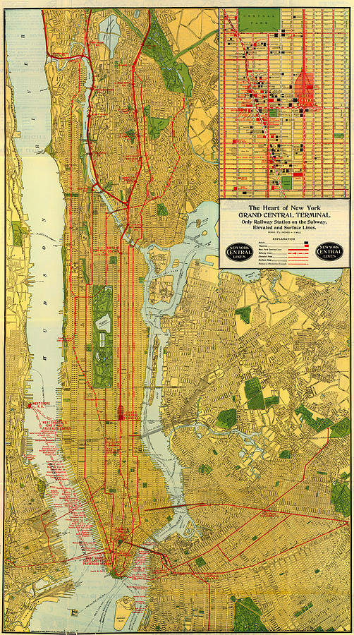 Old Map Of New York.Old Map Of New York Central Railroad Manhattan Map 1918 By Mountain Dreams