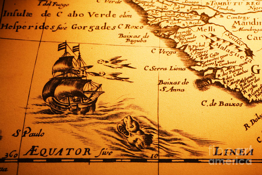 Africa Photograph - Old Map Sea Monster Sailing Ship Equator Africa by Colin and Linda McKie