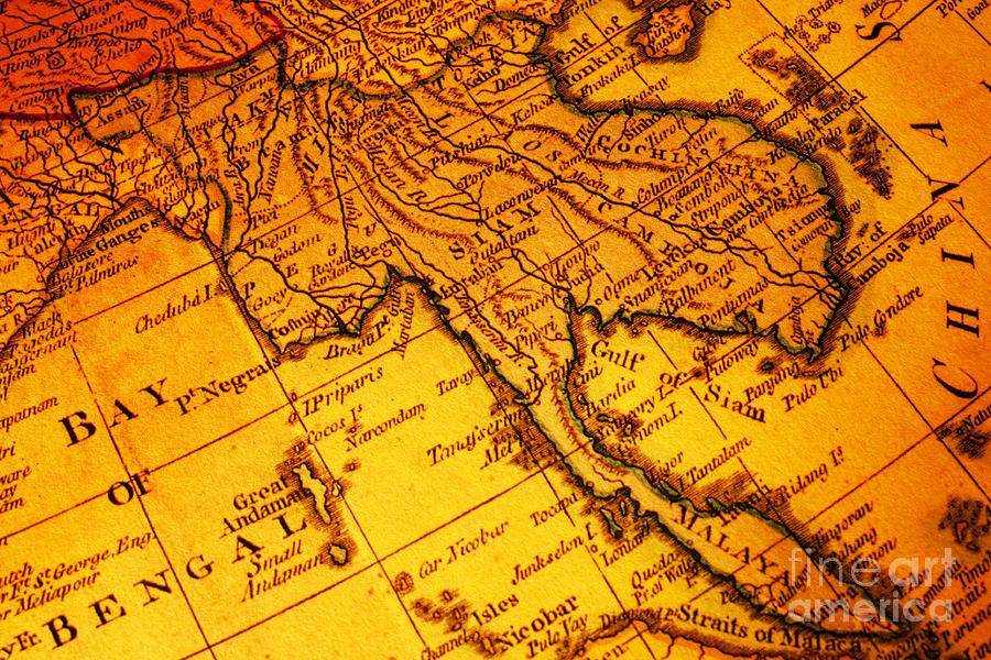 old map thailand siam malaya asia burma thailand cambodia laos