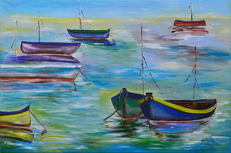 Old Marina Painting by Donna Blackhall