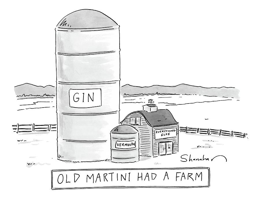 Old Martini Had A Farm Drawing by Danny Shanahan