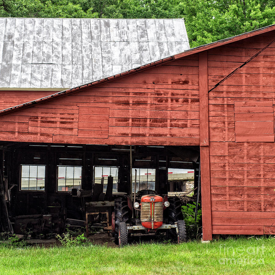 Holderness Photograph - Old Massey Ferguson Red Tractor In Barn by Edward Fielding