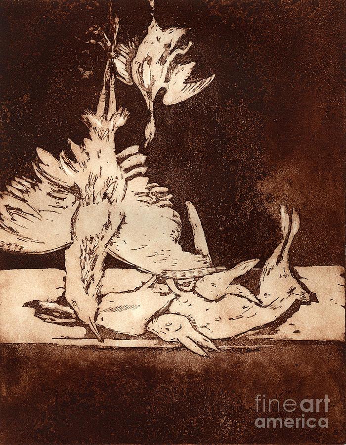 Plain Painting - Old Masters Still Life - with Great Bittern Duck Rabbit - Nature Morte - Natura Morta - Still Life by Helga Pohlen \ Urft Valley Art