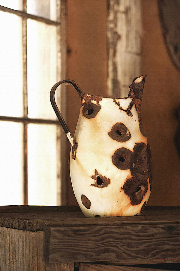 Pitcher Photograph - Old Metal Pitcher by Art Block Collections