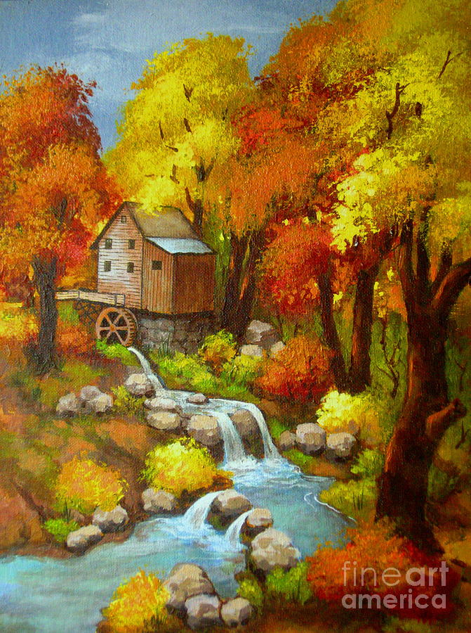 Landscape Painting - Old  Mill  Stream  by Shasta Eone