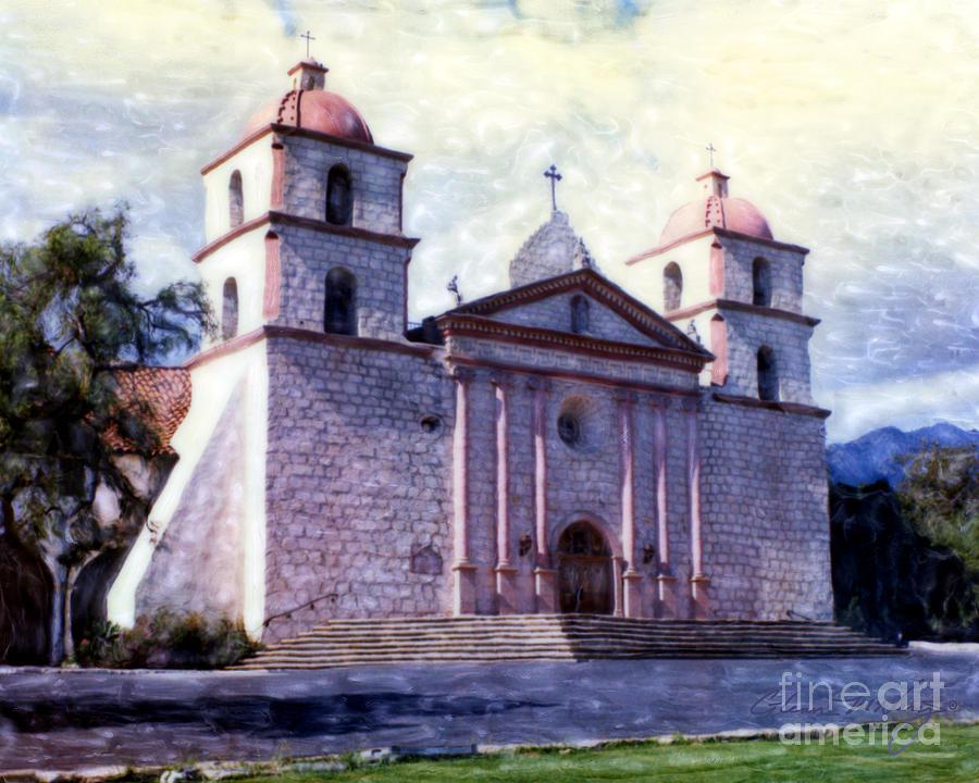 Old mission santa barbara mixed media by glenn mcnary for Case in stile missione santa barbara