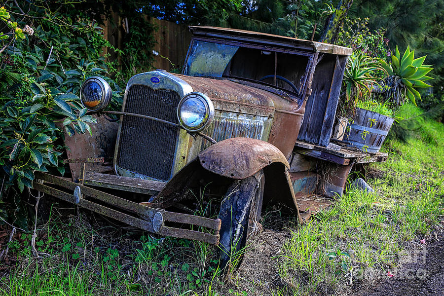 Classic Photograph - Old Model T Ford In The Jungle Maui Hawaii by Edward Fielding