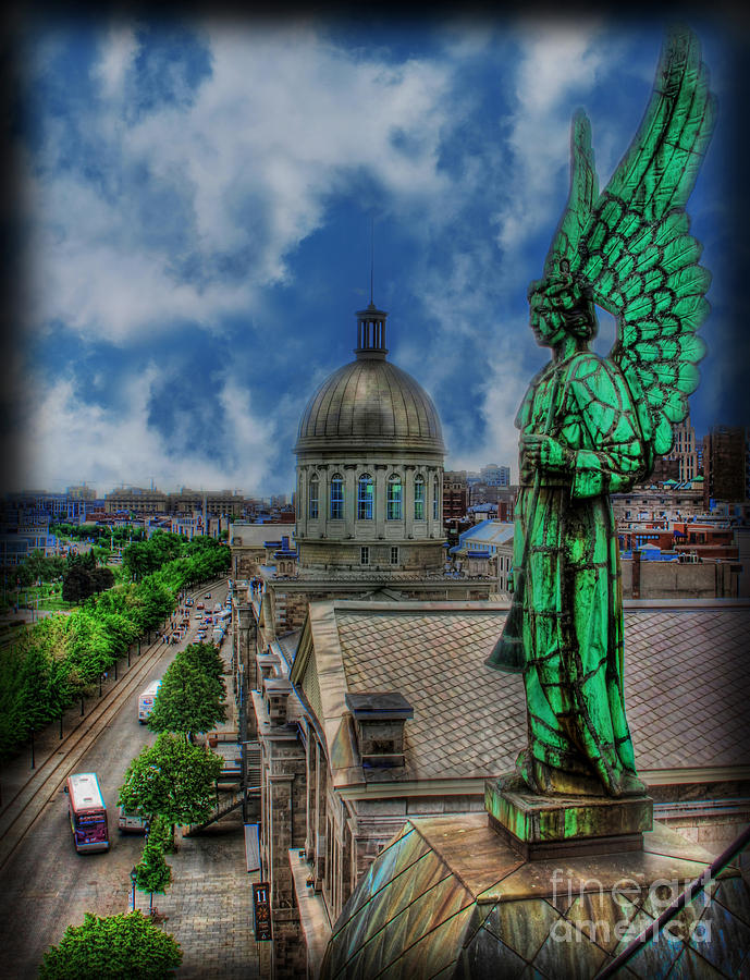 Canadian Photograph - Old Montreal Angel by Lee Dos Santos