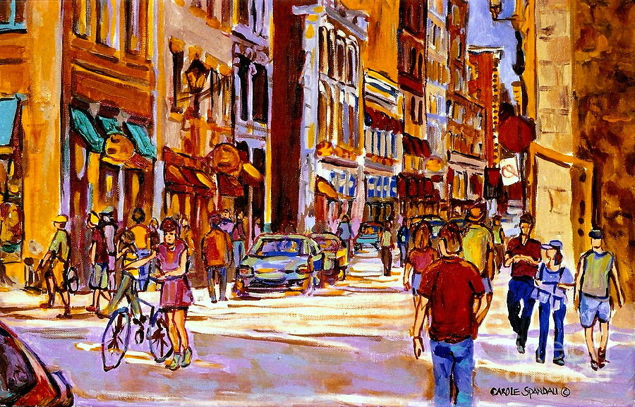 Old Montreal Paintings Bistros Boutiques Cafes And