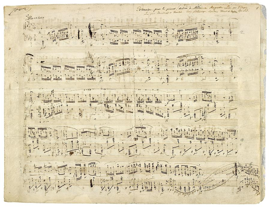Notes Photograph - Old Music Notes - Chopin Music Sheet by Tilen Hrovatic