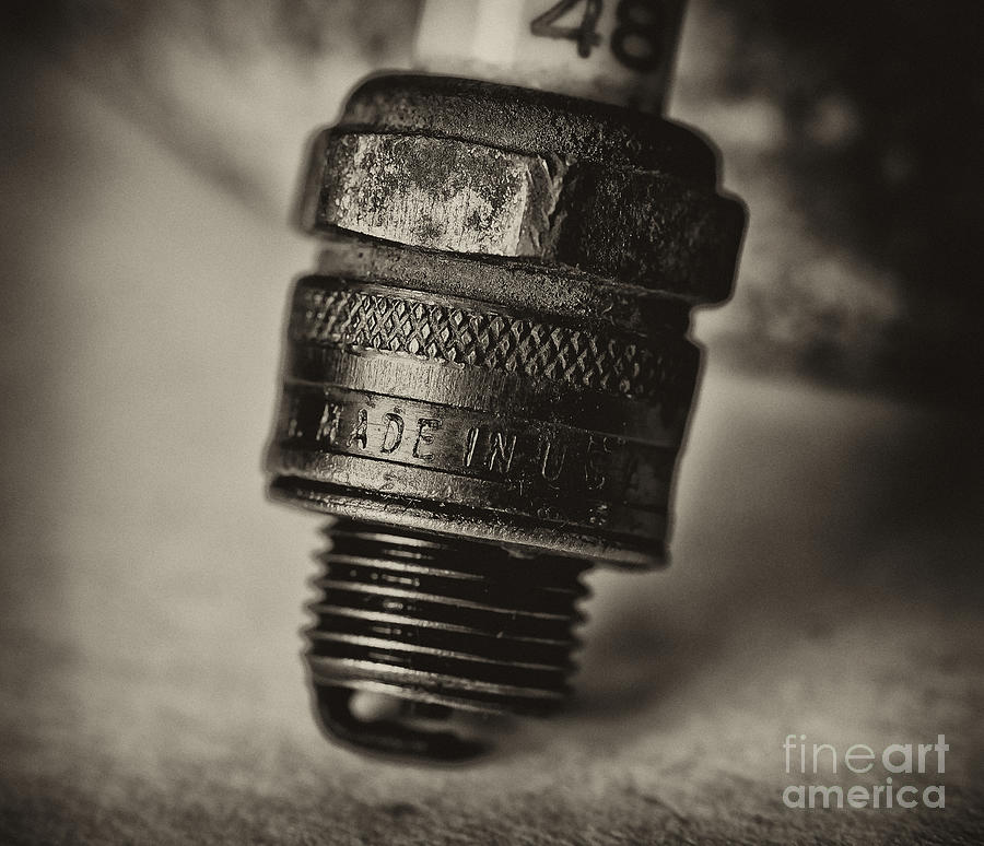 Damaged Photograph - Old Number 48 Spark Plug by Wilma  Birdwell