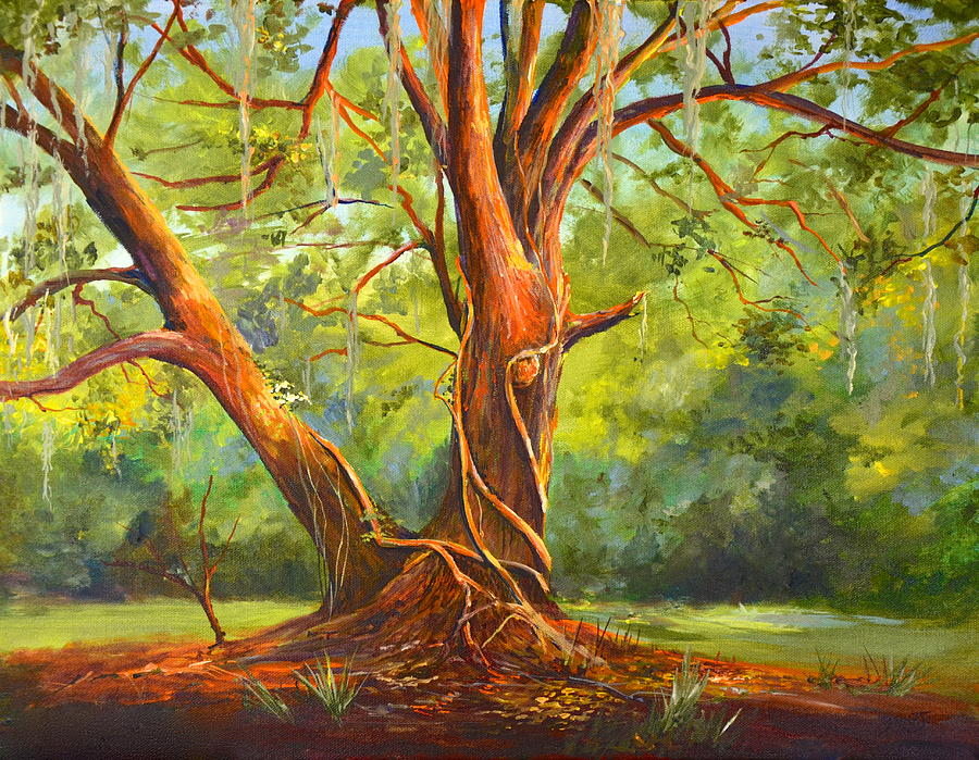 Oak Tree Painting - Old Oak With Vines by AnnaJo Vahle
