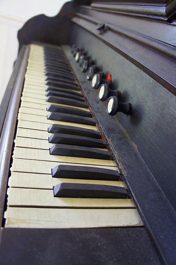 Organ Photograph - Old Organ Keyboard by Laurie Perry