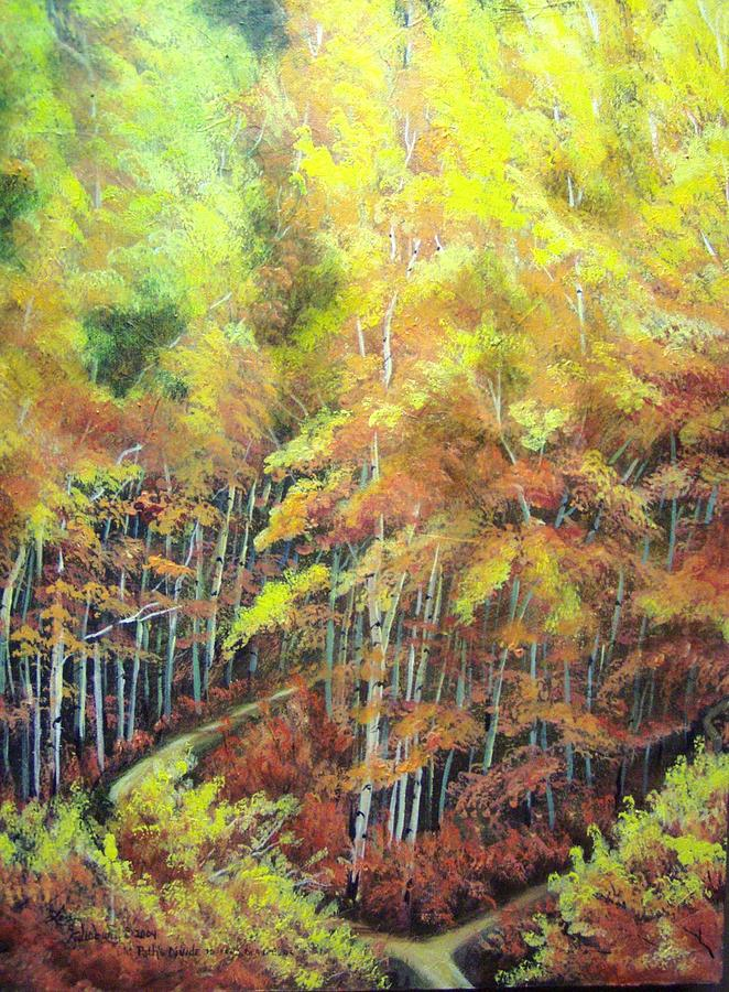 Aspens Painting - Old Paths Divide by Lori Salisbury