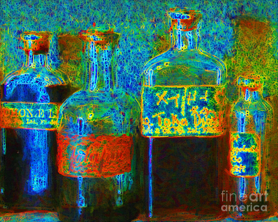 Medicine Photograph - Old Pharmacy Bottles - 20130118 V1a by Wingsdomain Art and Photography
