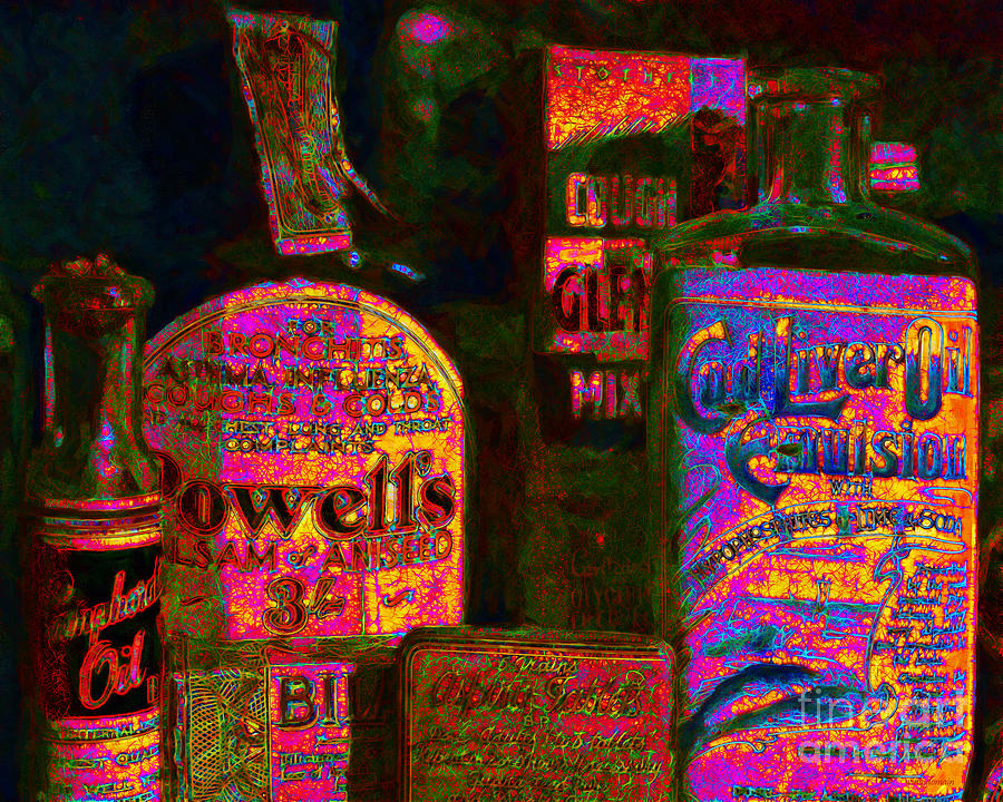 Medicine Photograph - Old Pharmacy Bottles - 20130118 V2a by Wingsdomain Art and Photography