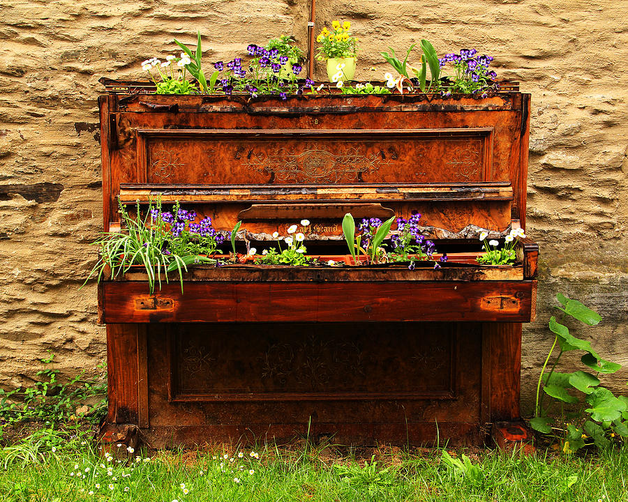 Old Piano Flower Planter In Germany Photograph By Greg