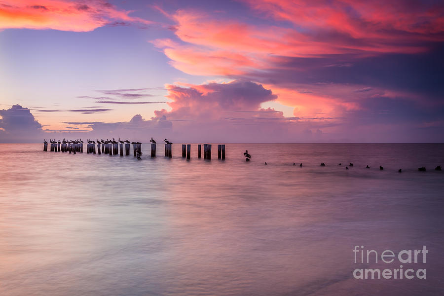 Naples Florida Photograph - Old Naples Pier Sunset by Hans- Juergen Leschmann