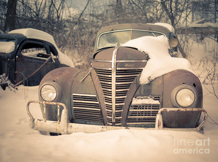White Photograph - Old Plymouth Classic Car In The Snow by Edward Fielding