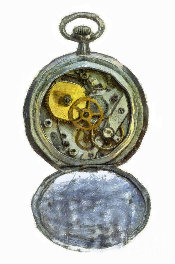 Antique Digital Art - Old Pocket Watch by Michal Boubin