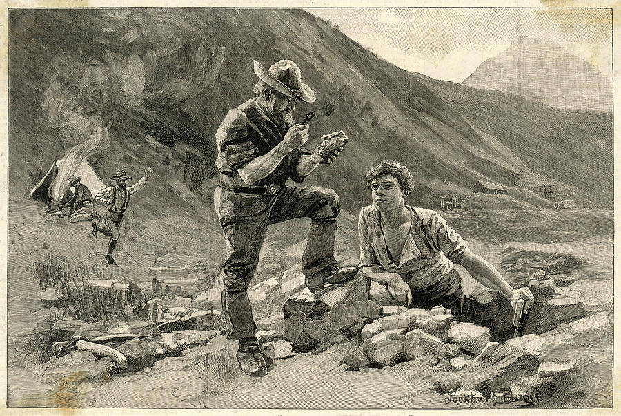 Old Prospector Examines A Find Drawing By Illustrated London News