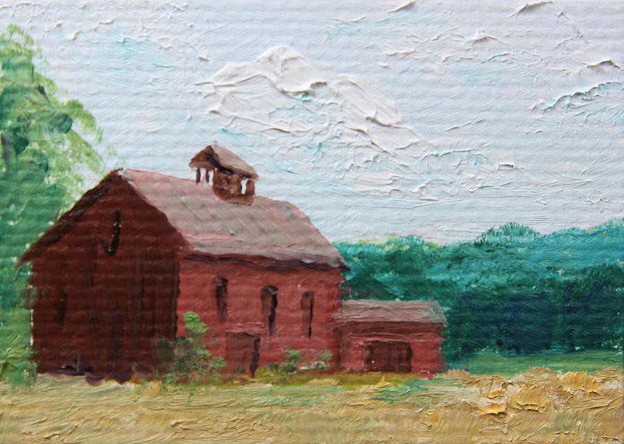 Old Red Barn Painting By Alan Mager