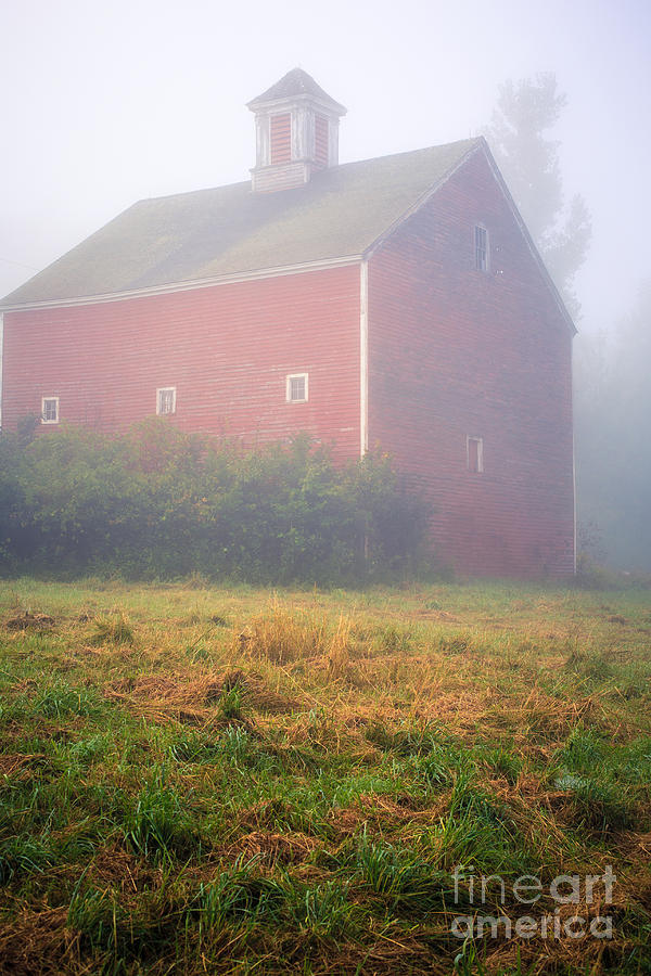 Mist Photograph - Old Red Barn In Fog by Edward Fielding