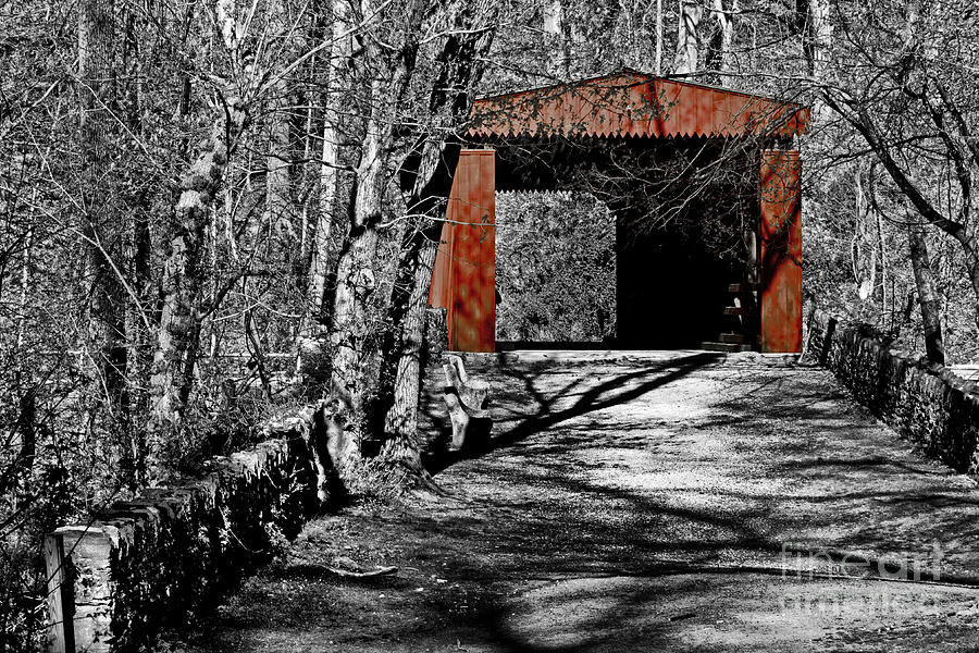 Selective Color Photograph - Old Red Bridge by Tom Gari Gallery-Three-Photography