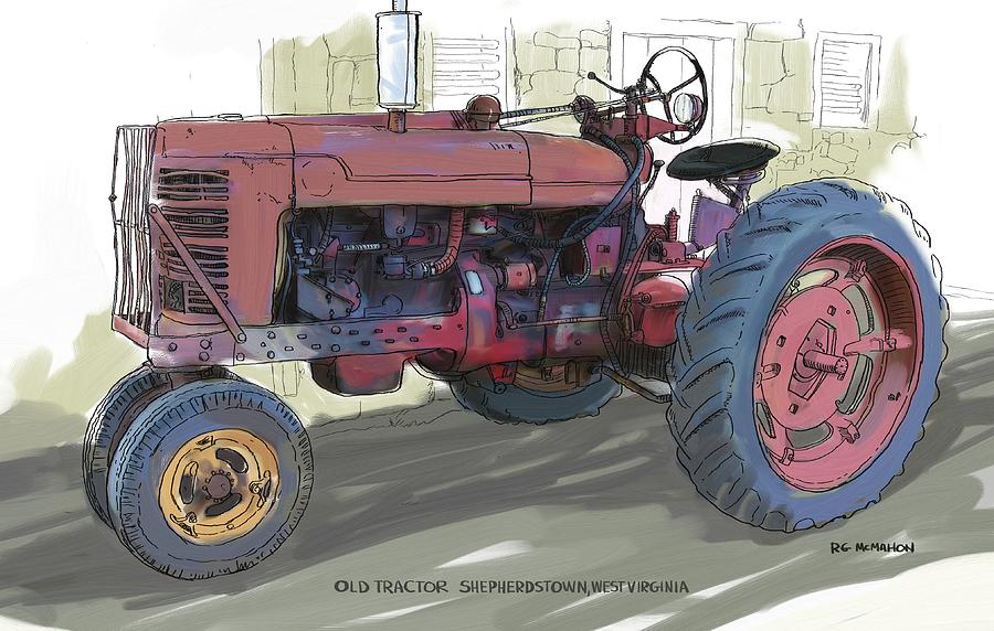 Farmall Tractor Painting : Old red farmall tractor painting by rg mcmahon