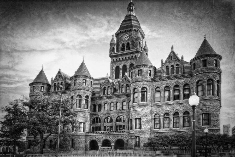 Courthouse Photograph - Old Red Monochrome by Joan Carroll