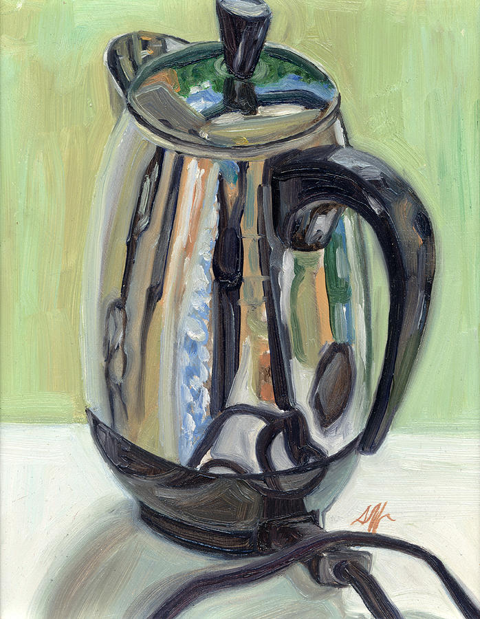 Percolator Painting - Old Reliable Stainless Steel Coffee Perker by Jennie Traill Schaeffer