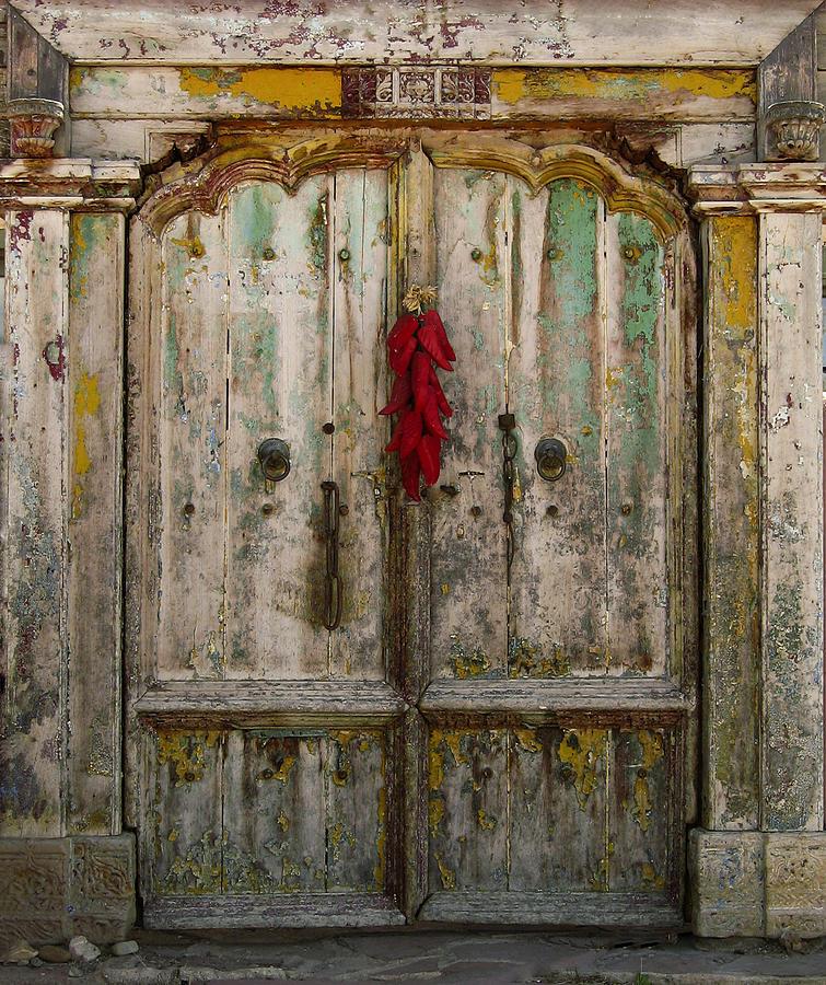 Door Photograph - Old Ristra Door by Kurt Van Wagner