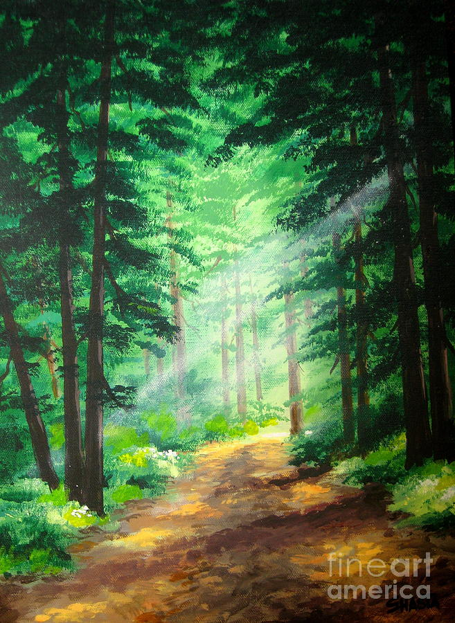 Forest Landscapes Painting - Old  Road  by Shasta Eone