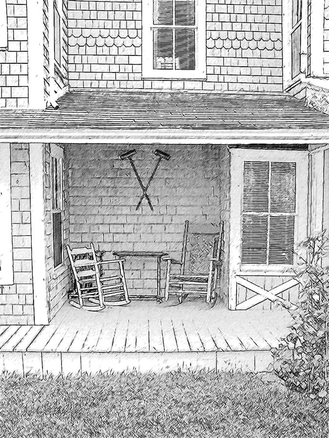 Old Rocking Chairs Drawing By Greg Lindberg