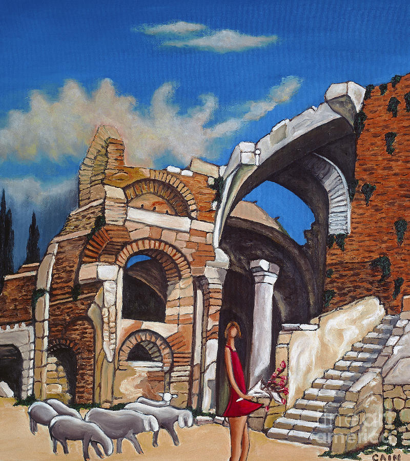 Old Mediterranean Ruins Painting - Old Ruins Flower Girl And Sheep by William Cain