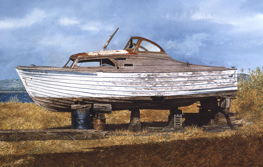 Boats Painting - Old Salt by Tom Wooldridge