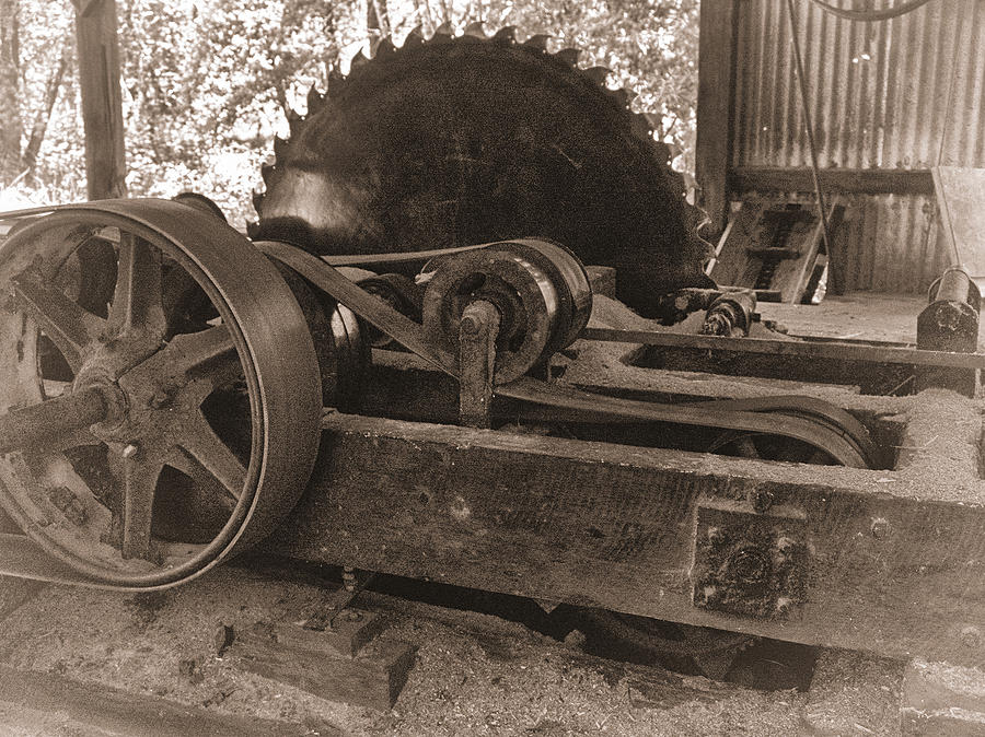 Vintage Photograph - Old Sawmill Blade by Betty Depee