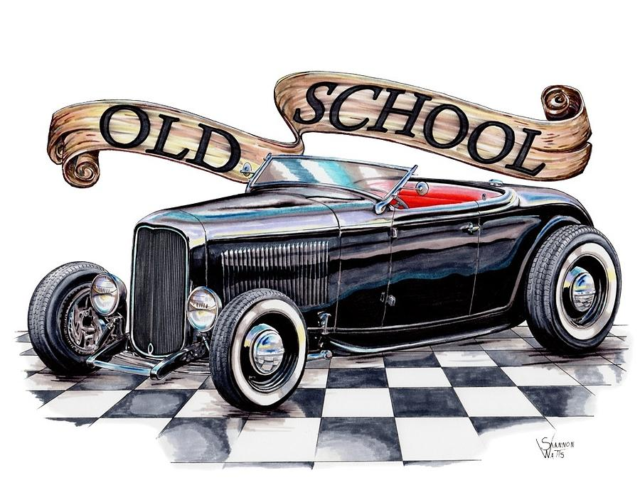 1932 Drawing   Old School 32 Ford Roadster By Shannon Watts