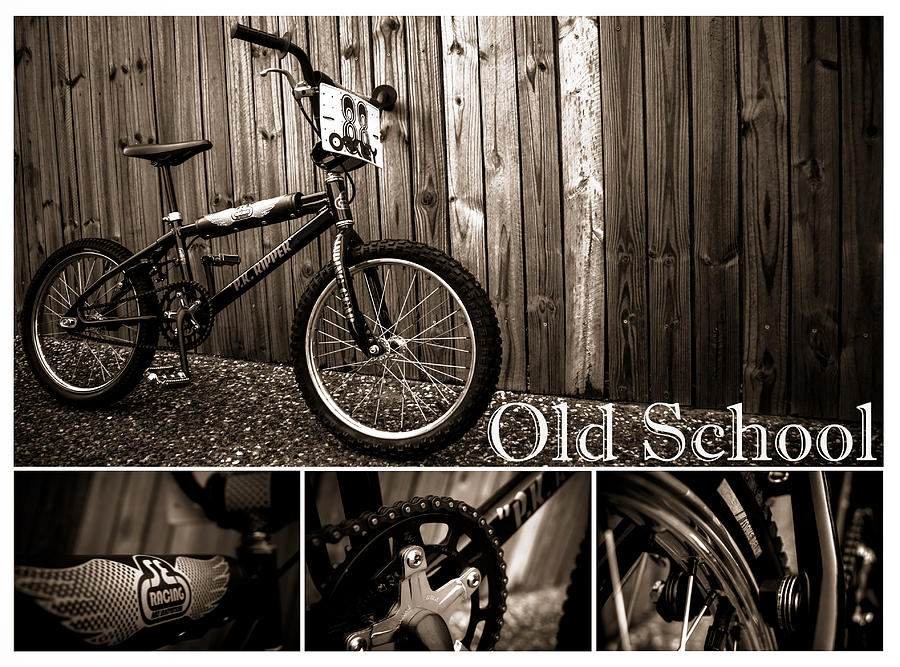 Bmx  Photograph - Old School Bmx - Pk Collage Bw by Jamian Stayt