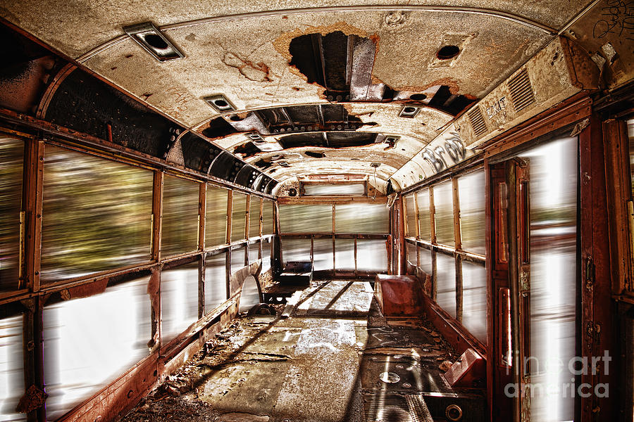 'school Bus' Photograph - Old School Bus In Motion Hdr by James BO  Insogna