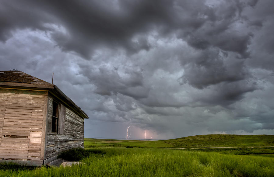 Prairie Photograph - Old School House And Lightning by Mark Duffy