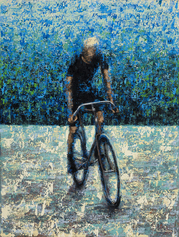 Bike Painting - Old School Riding by Ned Shuchter