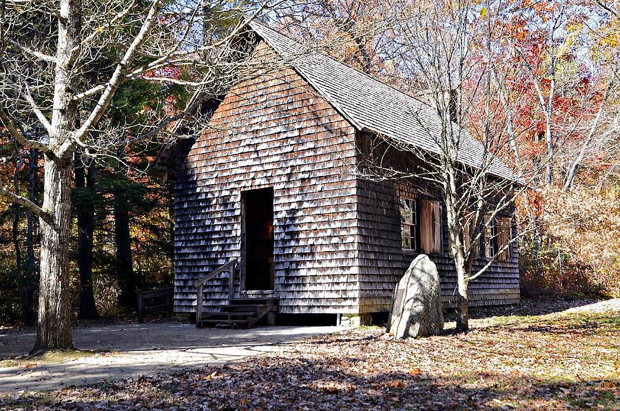 Antique Photograph - Old Schoolhouse Building by Susan Leggett